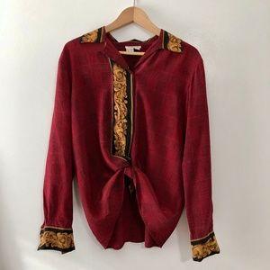 VINTAGE/ silk plaid button up blouse